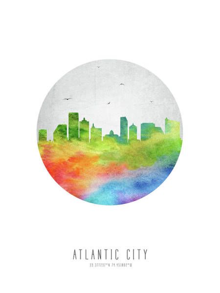 Atlantic Digital Art - Atlantic City Skyline Usnjac20 by Aged Pixel