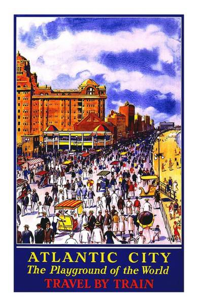 Kunst Wall Art - Painting - Atlantic City Vintage Poster by Studio Grafiikka