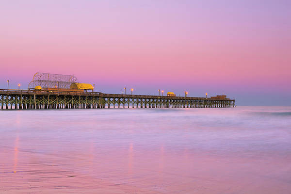 Photograph - Atlantic Ocean And The Apache Pier At Sunset In South Carolina by Ranjay Mitra