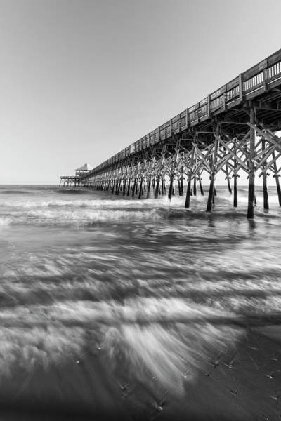 Photograph - Atlantic Ocean Surf And Cherry Grove Pier In Black And White by Ranjay Mitra