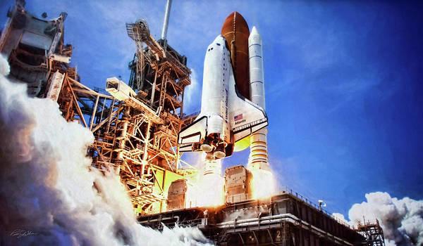 Space Exploration Digital Art - Atlantis Launch by Peter Chilelli