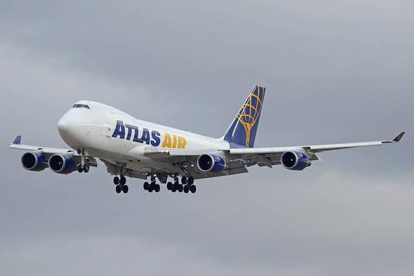 747 Photograph - Atlas Air Boeing 747-47uf N415mc Phoenix Sky Harbor December 23 2015  by Brian Lockett