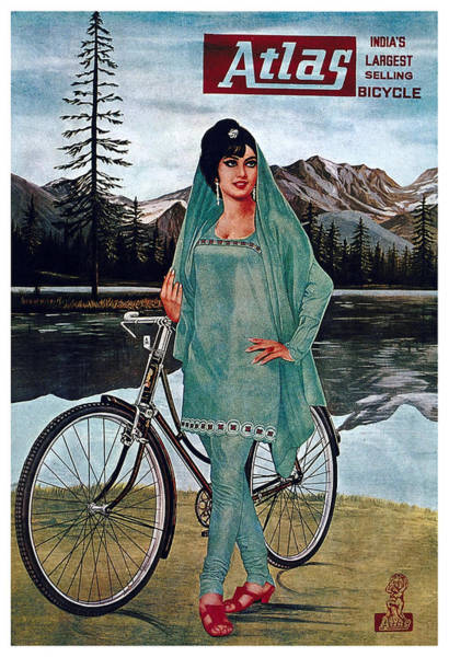Wall Art - Mixed Media - Atlas Bicycle - India - Vintage Advertising Poster by Studio Grafiikka