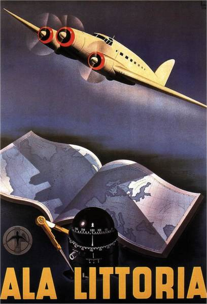 Wall Art - Painting - Atlas, Map And Compass - Vintage Propeller Aircraft - Ala Littoria - Vintage Travel Poster by Studio Grafiikka