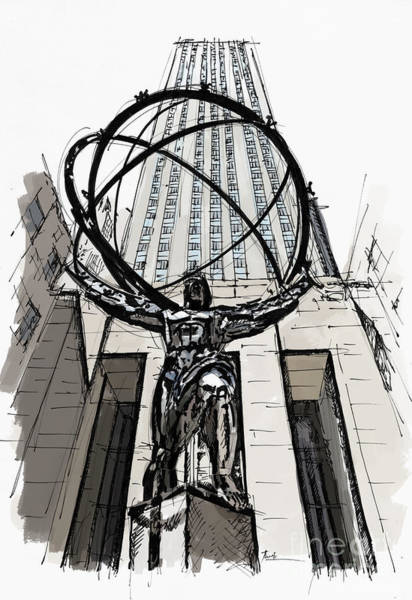 Wall Art - Painting - Atlas Sculpture Sketch In New York City by Drawspots Illustrations