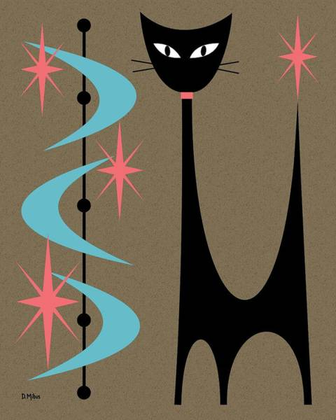 Digital Art - Atomic Cat Turquoise And Pink by Donna Mibus