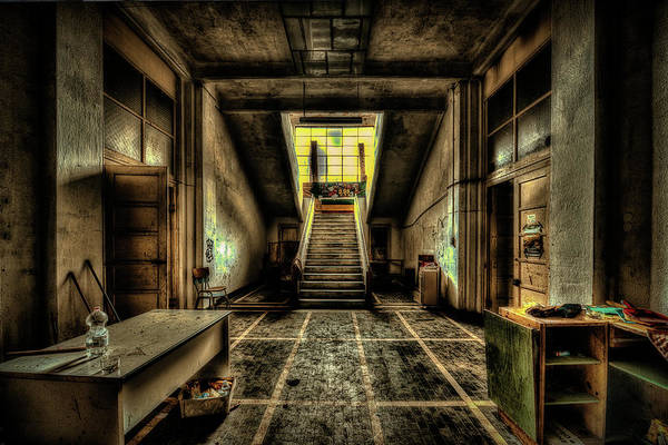 Photograph - Atrium And The Staircase Of Abandoned Kindergarten - Atrio E Scalone Di Colonia Abbandonata by Enrico Pelos