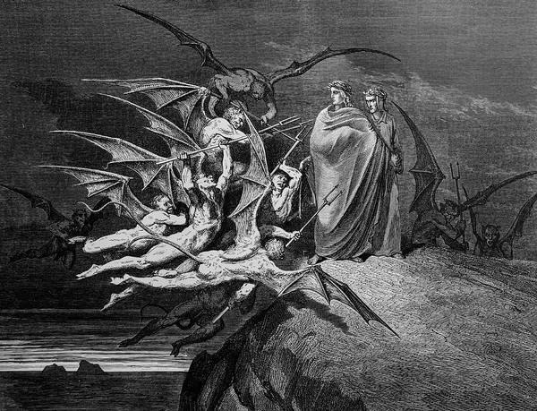 Charcoal Drawing Photograph - Attack Of The Winged Devils by Douglas Barnett