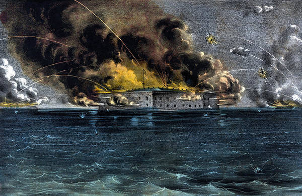 Civil War Wall Art - Painting - Attack On Fort Sumter by War Is Hell Store