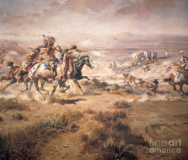 Settlers Painting - Attack On The Wagon Train by Charles Marion Russell
