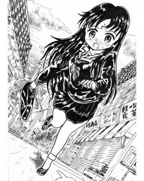 Ink Drawing - Attending School At Early Morning by Hisashi Saruta