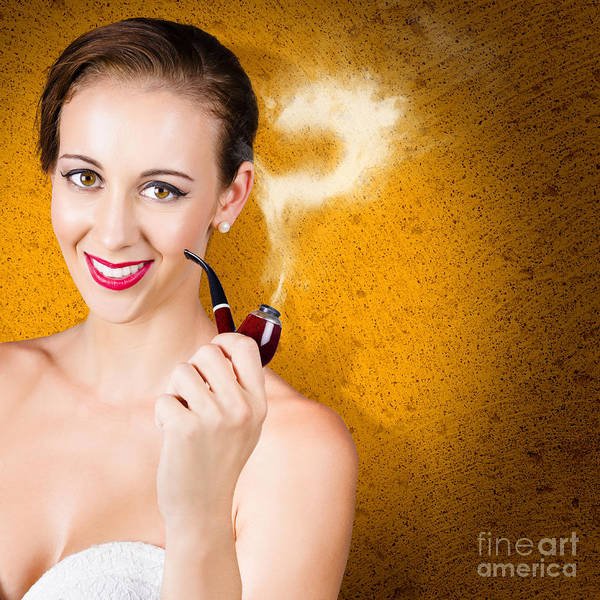 Question Photograph - Attractive Lady Pondering Solutions With Pipe by Jorgo Photography - Wall Art Gallery