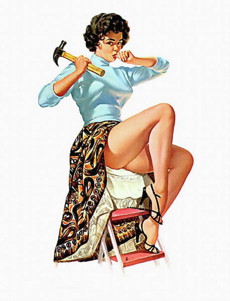 Thumb Painting - Attractive Pin-up Girl With Hammer by Long Shot