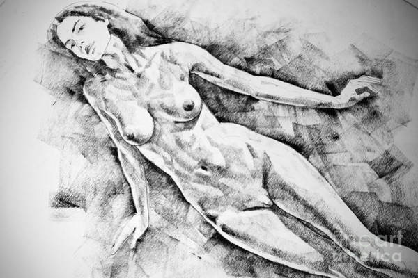 Drawing - Attractive Woman Figure Drawing Close Up Standing Pose by Dimitar Hristov