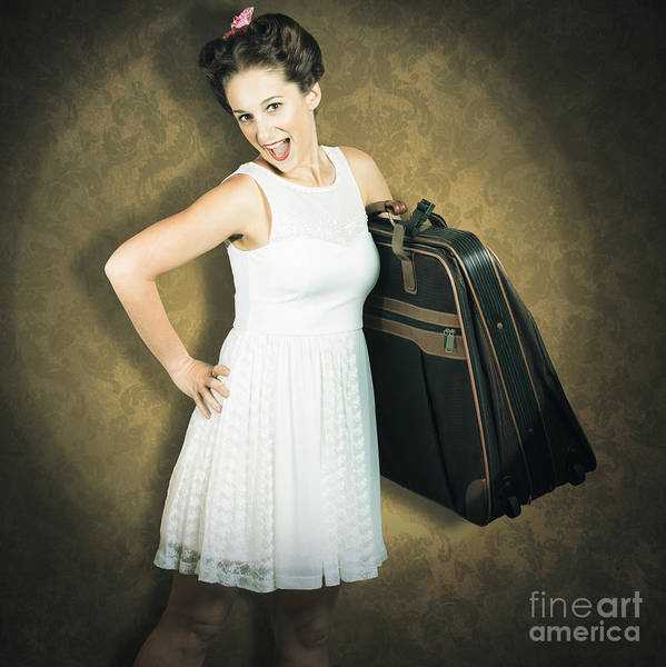 Wall Art - Photograph - Attractive Young 1950s Woman Ready For Travel Tour by Jorgo Photography - Wall Art Gallery