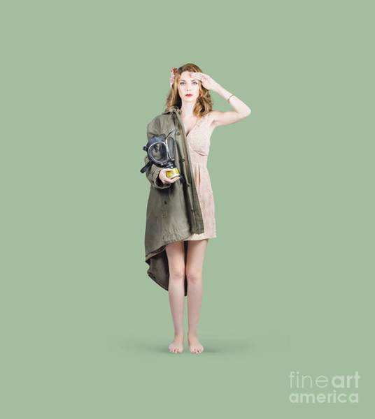 Honour Wall Art - Photograph - Attractive Young Australian Army Pinup Woman by Jorgo Photography - Wall Art Gallery