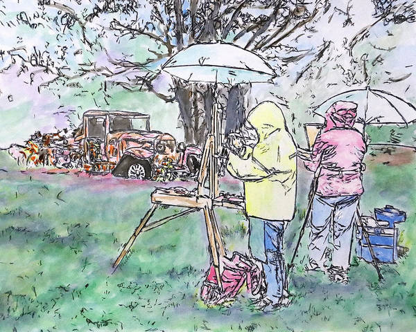Drawing - Au Plein Air by Michele A Loftus