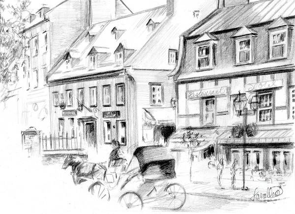 Quebec City Drawing - Auberge Du Tresor by Louise Lavallee