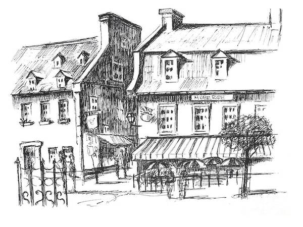 Quebec City Drawing - Auberge Du Tresor, Old Quebec City by Louise Lavallee