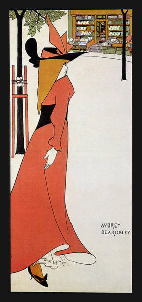 Hat Mixed Media - Aubrey Beardsley - Girl In Red Gown - Vintage Advertising Poster by Studio Grafiikka