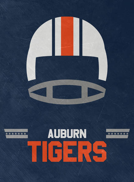 Wall Art - Mixed Media - Auburn Tigers Vintage Football Art by Joe Hamilton