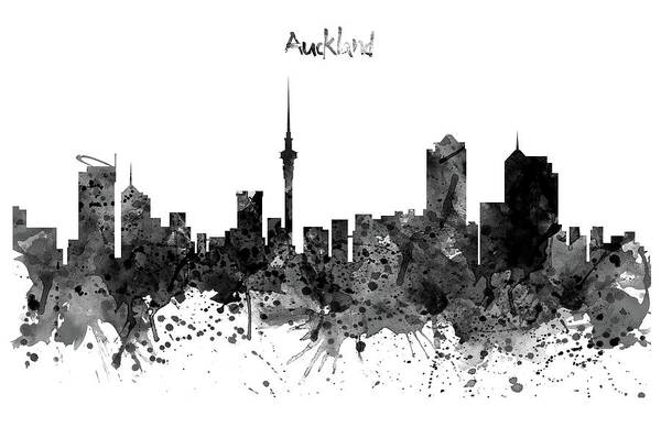 Wall Art - Painting - Auckland Black And White Watercolor Skyline by Marian Voicu