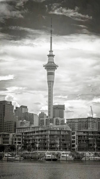 Photograph - Auckland New Zealand Sky Tower Bw Texture by Joan Carroll