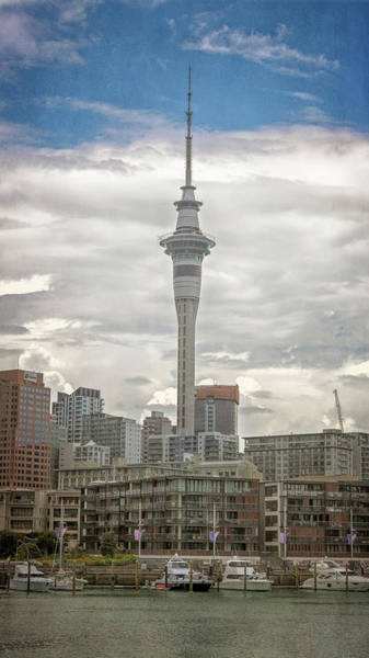 Wall Art - Photograph - Auckland New Zealand Sky Tower Textured by Joan Carroll