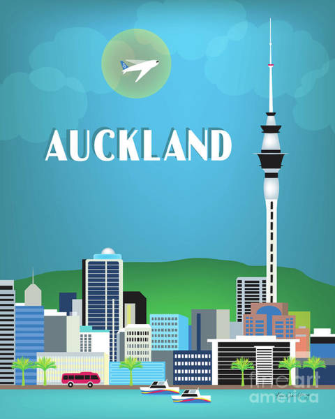 Wall Art - Digital Art - Auckland New Zealand Vertical Skyline by Karen Young