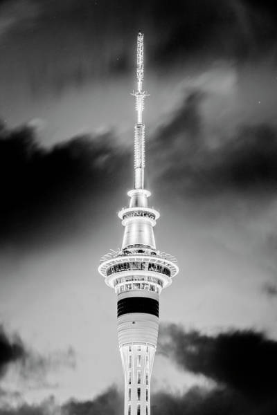 Photograph - Auckland Sky Tower Night Bw by Joan Carroll