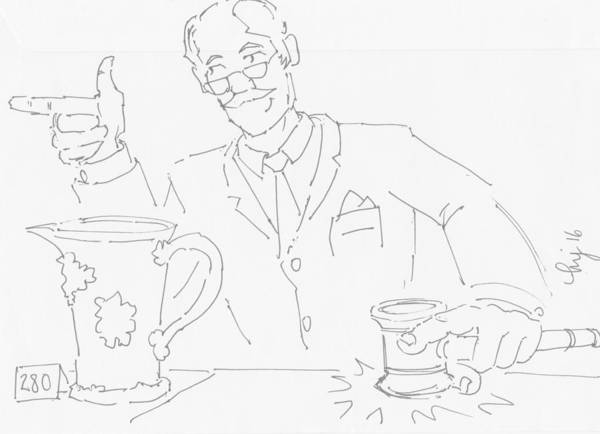 Drawing - Auctioneer Cartoon - Sold An Antique Jug by Mike Jory