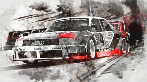 Painting - Audi 90 Quattro Imsa Gto - Watercolor 03 by Andrea Mazzocchetti