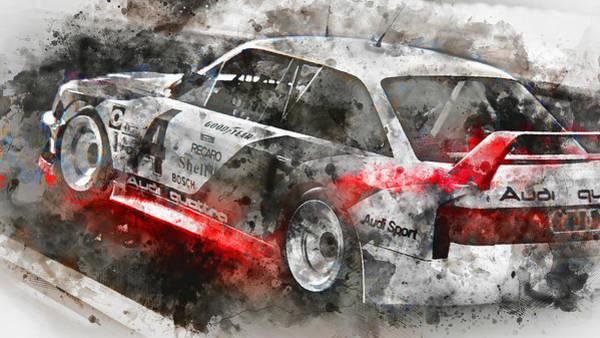 Painting - Audi 90 Quattro Imsa Gto - Watercolor 04 by Andrea Mazzocchetti