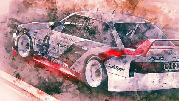 Painting - Audi 90 Quattro Imsa Gto - Watercolor 08 by Andrea Mazzocchetti