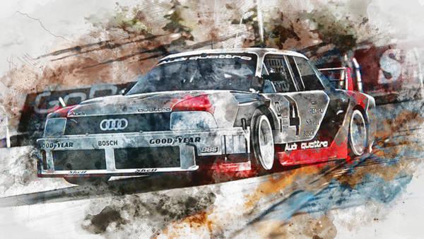 Painting - Audi 90 Quattro Imsa Gto - Watercolor 09 by Andrea Mazzocchetti