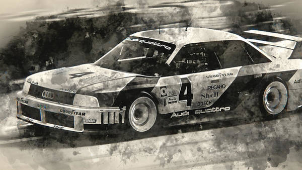 Painting - Audi 90 Quattro Imsa Gto - Watercolor 12 by Andrea Mazzocchetti
