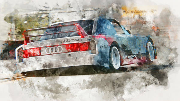 Painting - Audi 90 Quattro Imsa Gto - Watercolor 13 by Andrea Mazzocchetti