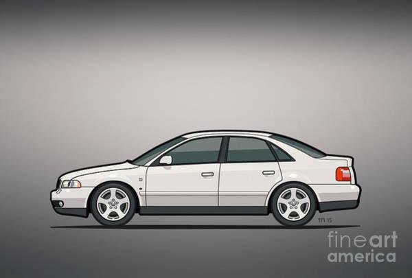 Made In Digital Art - Audi A4 Quattro B5 Type 8d Sedan White by Monkey Crisis On Mars