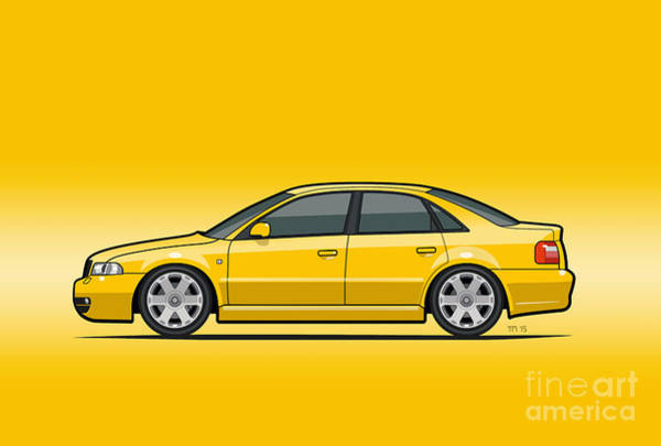 Made In Digital Art - Audi A4 S4 Quattro B5 Type 8d Sedan Imola Yellow by Monkey Crisis On Mars