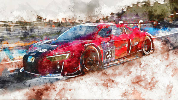 Painting - Audi R8 Lms - Watercolor 03 by Andrea Mazzocchetti