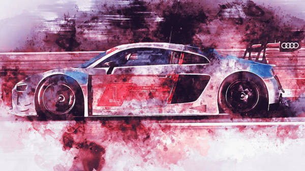 Painting - Audi R8 Lms - Watercolor 05 by Andrea Mazzocchetti