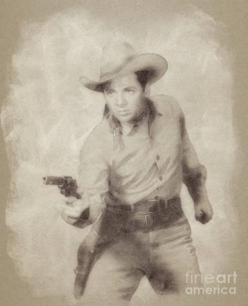 Pinewood Drawing - Audie Murphy, Vintage Actor And War Hero By John Springfield by John Springfield
