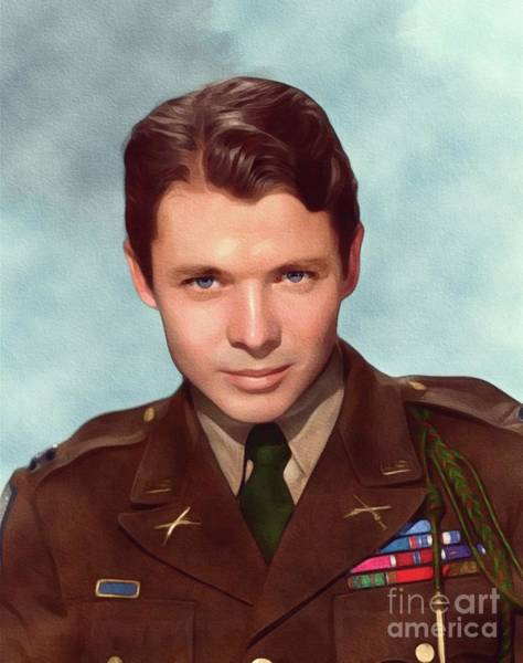 Wall Art - Painting - Audie Murphy, Vintage Actor And War Hero by John Springfield