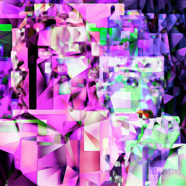 Photograph - Audrey Hepburn And Marilyn Monroe Tiffany And The Blonde In Abstract Cubism 20170401 Square by Wingsdomain Art and Photography