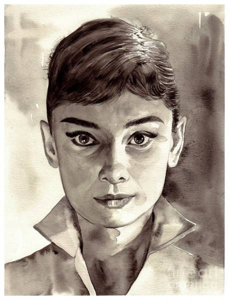Cigar Painting - Audrey Hepburn Black And White by Suzann Sines