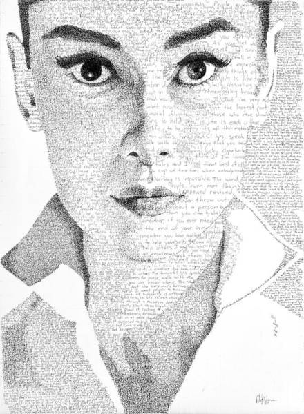 Neo-impressionism Wall Art - Painting - Audrey Hepburn In Her Own Words by Phil Vance