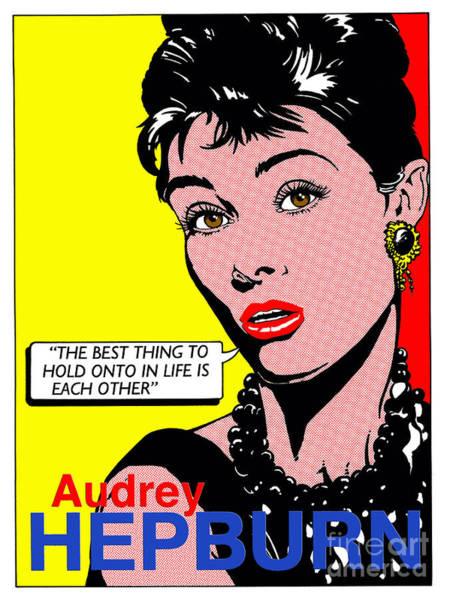 Wall Art - Digital Art - Audrey Hepburn by MGL Meiklejohn Graphics Licensing