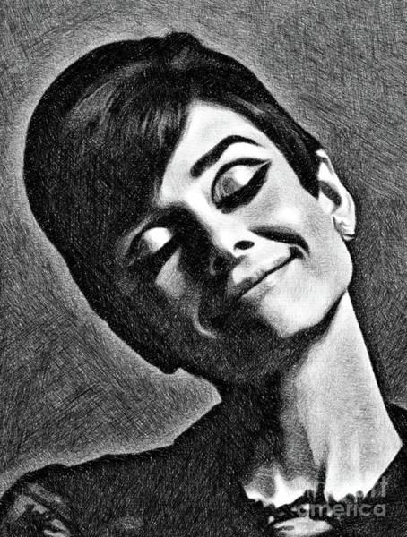 Pinewood Drawing - Audrey Hepburn, Vintage Actress By Js by John Springfield