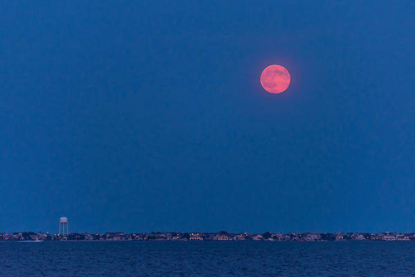 Photograph - August Full Moon Over Seaside Park Nj by Terry DeLuco