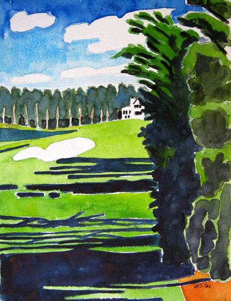 Augusta Masters Painting - Augusta 18th Georgia by Lesley Giles